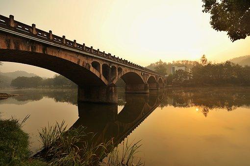 Bridge, Morning, Calm, Lake, Sunrise, Calm Morning