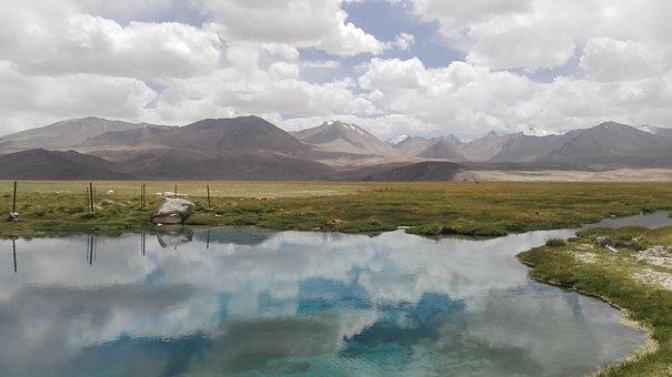 Tajikistan, Mountains, Clouds, Water, Landscape, Color