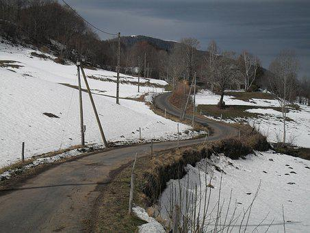 Road, Snow, Winter, Cold, Landscape, Winding, Nature