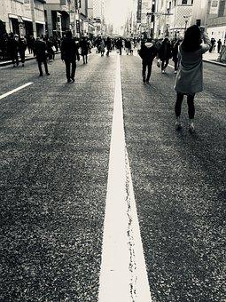Road, Black And White, Ginza, Pedestrian, Photos, Women