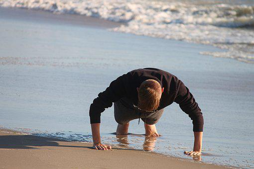 Pushups, Sport, Beach, Gymnastics, Fun, Pose, Movement