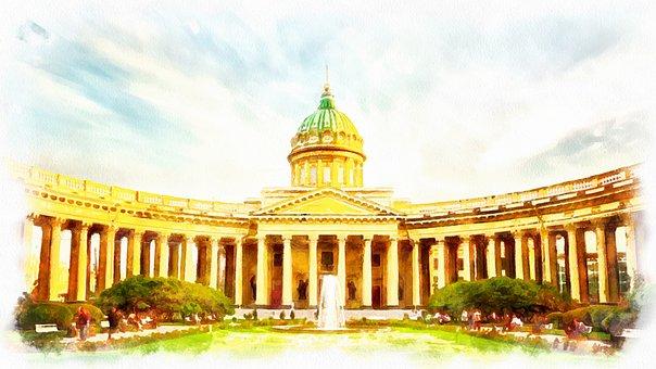 St Petersburg Russia, Watercolor, Figure, Russia, City