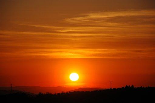 Pforzheim, Sunset, Sun, Wallberg, Landscape, Mood