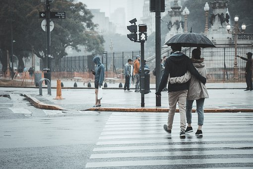 Couple, Rain, Sunshade, Umbrella, Romantic
