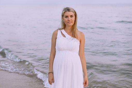 Beautiful Bride At Sea, Marine Theme, Wave, White Dress