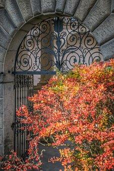 Gate, Grid, Castle, History, Architecture, Arch, Autumn