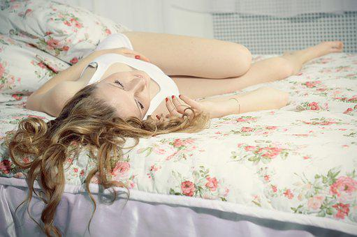 Girl Lying On Bed, Resting, Sleeps, Dream, Cute, Home
