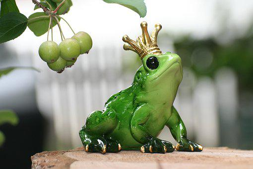 Frog Prince, Frog, Crown, Cute, Funny, Green, Deco