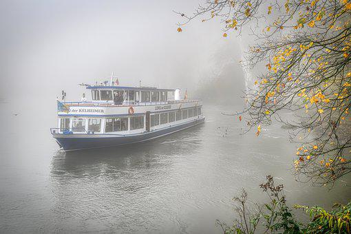 Fog, River, Ship, Autumn, Landscape, Water, Forest