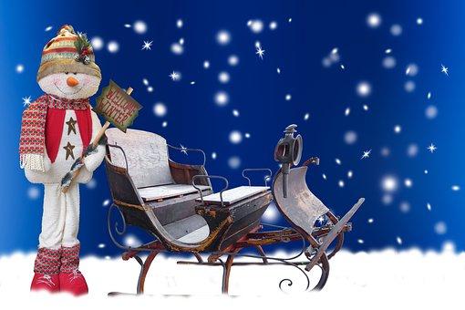 Background, Winter, Season, Snow, Snowman, Slide