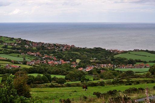 Robin Hood's Bay, England, Coast, Village, Houses