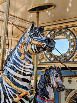 Carousal, Carnival, Zebra, Gold, Fake Horse, Rides