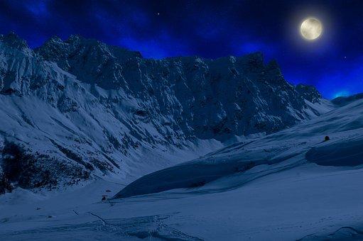 Graubünden, Switzerland, Winter, Night, Full Moon, Mood