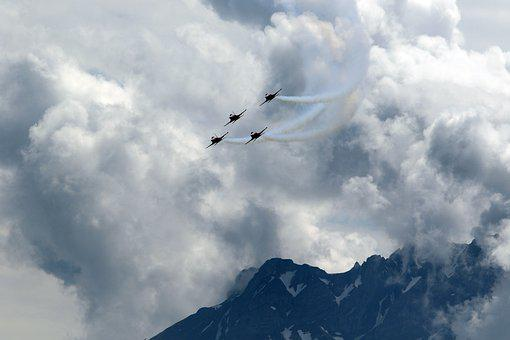 Air Show, Jet, Patrol Suisse, F 5, Tiger, Aircraft
