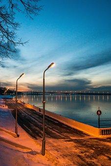 Permian, Quay, Winter Night, The River Kama, Dark, Sky