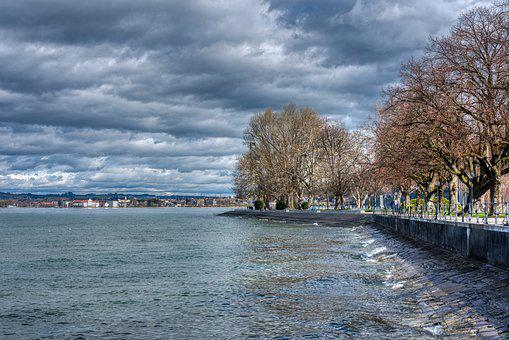 Clouds, Water, Sky, Lake Constance, Bregenz, Mole