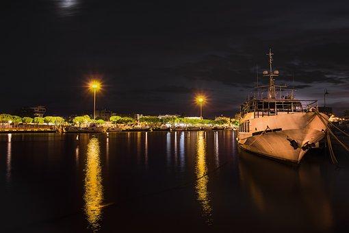Ship, Sea, Porto, Boat, Vela, Sunset, Nautica, Blue