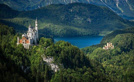 Castle, Tree, Landscape, Kristin, Bavaria, Allgäu