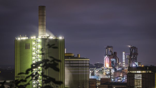 Industry, Night, Architecture, Power Plant, Factory