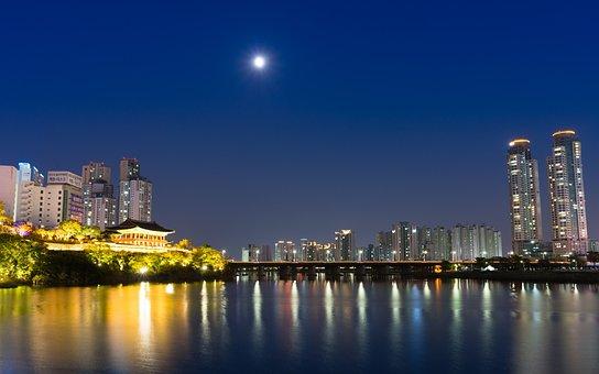 Moon, River, Sky, Night, Asia, Korea, Bridge