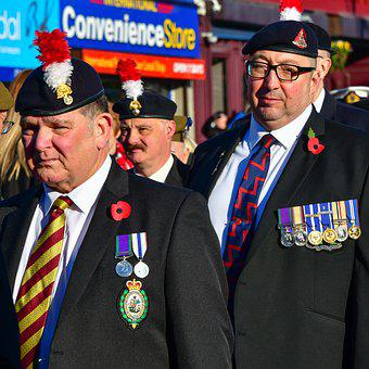 Portrait, Old Soldier, Flag, Medals, Remembrance Day