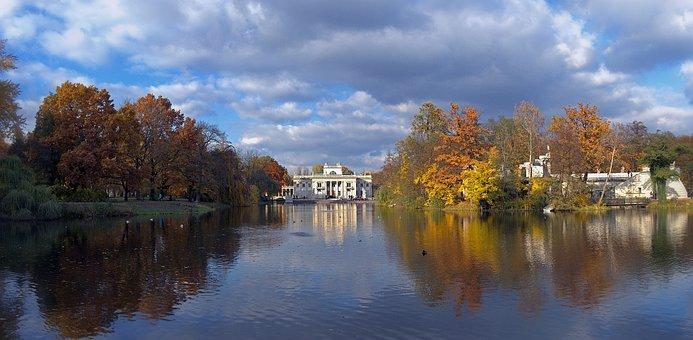 Lazienki, Poland, Warsaw, Fall, Park, Tree, Beautiful