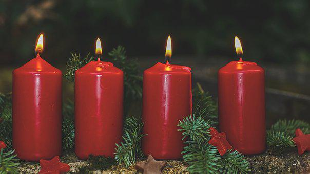 Advent, 4, Advent Candles, Red, Four, Candlelight