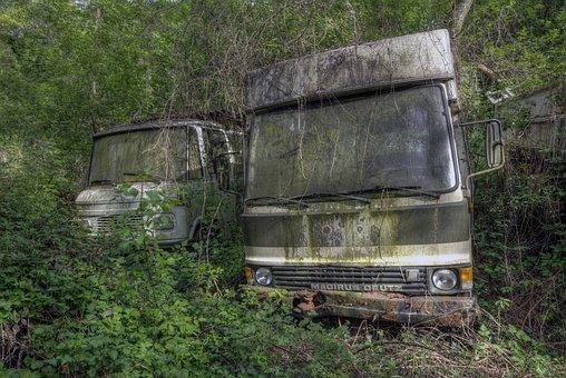 Camper, Camping, Car, Truck, Abandoned, Breakage, Wreck