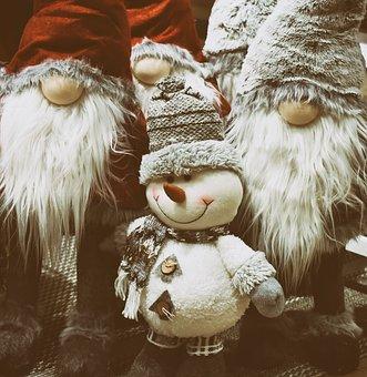 Santa Clauses, Snowman, Christmas Motif, Christmas