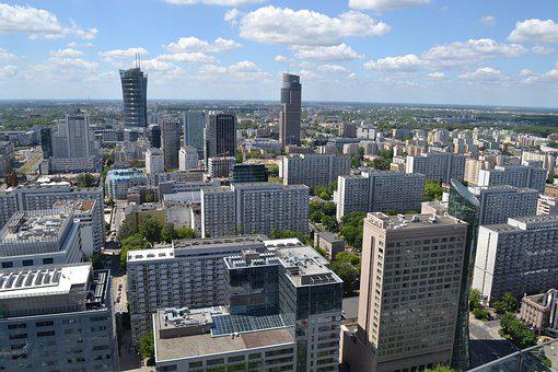 Poland, Warsaw, The Centre Of, City, Panorama, Downtown