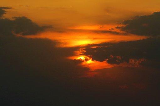Sunset, Red, Sky, Clouds, Nature, Solar, Horizon