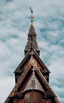 Church, Cloud, Clouds, Sky, Cross, Landscape, Jesus