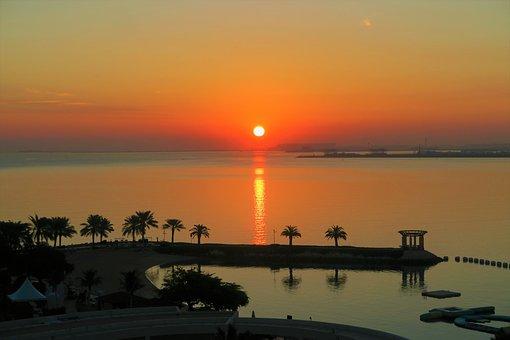 Sunset, Nature, Marine, Water, Horizon, Trees