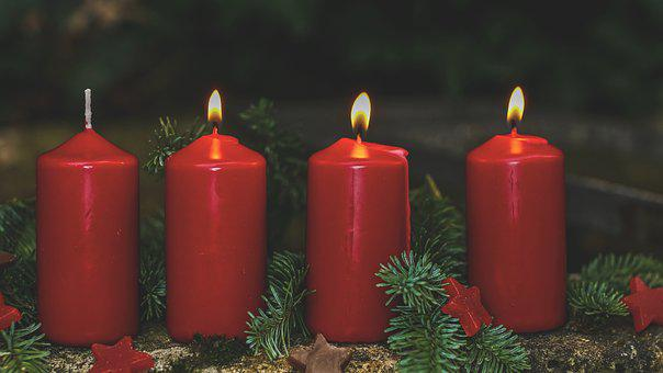 Advent, 3, Advent Candles, Red, Four, Candlelight
