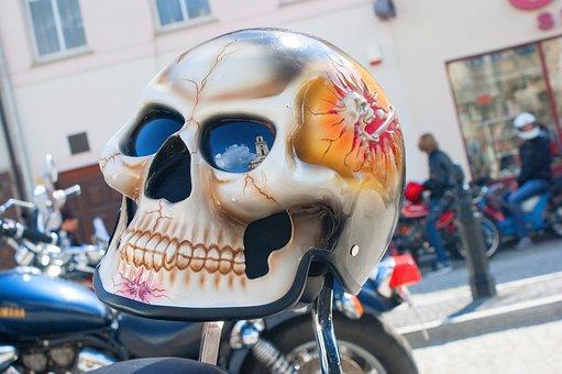 Helmet, Motorcycle, Skull, Painting, Travel, Road