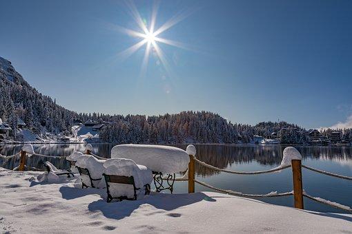 Turrach, Winter, Lake, Landscape, Water, Sky, Wintry