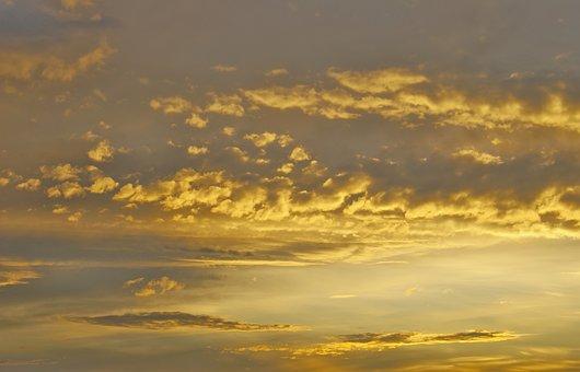 Clouds, Sky, Altocumulus, Pieces, Clear, Golden, West