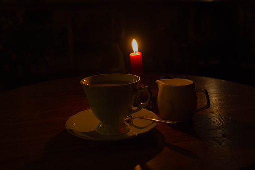 Coffee, Cup, Candle, Romance