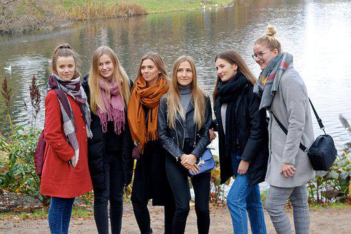 Girls, Young, People, Female, Group, Posing, Nature