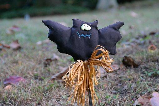 Bat, Vampire, Halloween, Garden, Decoration, Weird