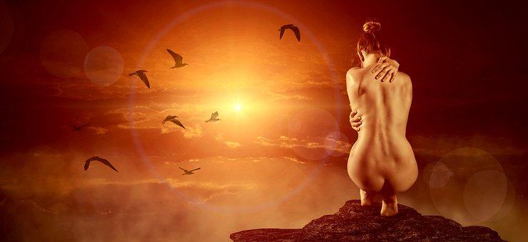 Sun, Heat, Woman, Nature, Light, Naked, Sunset, Hell