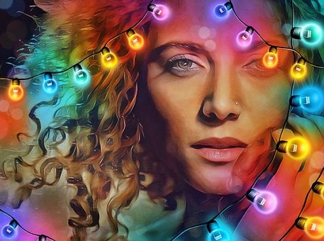 Christmas, Xmas, Lights, Holiday, Woman, Lady, Pretty