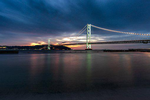 Landscape, Long Exposure, The Akashi-kaikyo Bridge