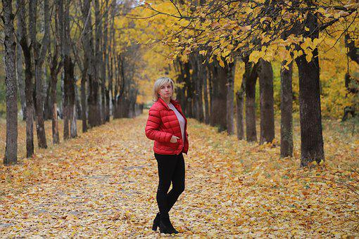 Woman, Autumn, Red, Jacket, Leaves, Trees, Nature, Wall