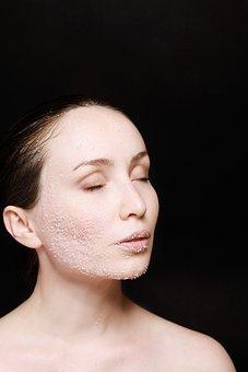 Woman, Skin, Care, Salt, On, Face, Cheek, Beauty