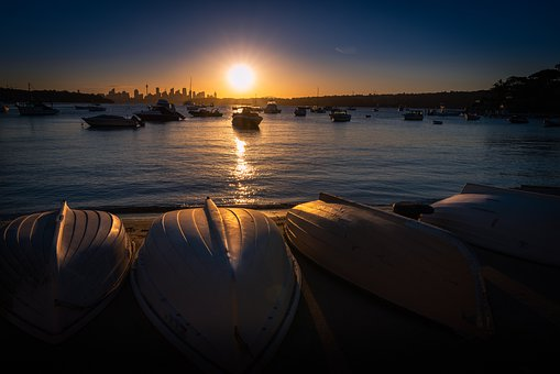 Sydney, Sunset, Boats, Water, Nature, Landscape, Sea