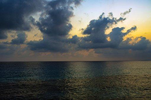 Sea, Sky, Clouds, Horizon, Nature, Seascape, Afternoon
