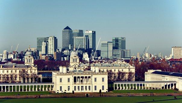 London, Greenwich, Canary Wharf, Uk, England, Skyline