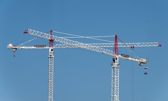 Cranes, Two, Construction, Building, White, Red