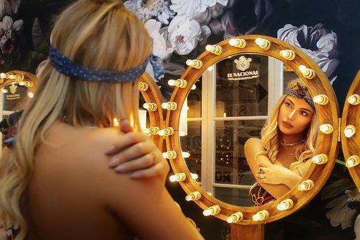 Portrait, Girl, Woman, Make-up, Reflection, Female